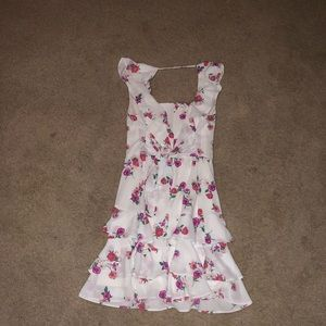 Express Dresses - Express White Floral Dress with Ruffles